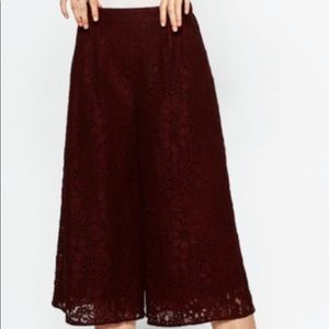 Zara Embroidered Cropped Wide Leg